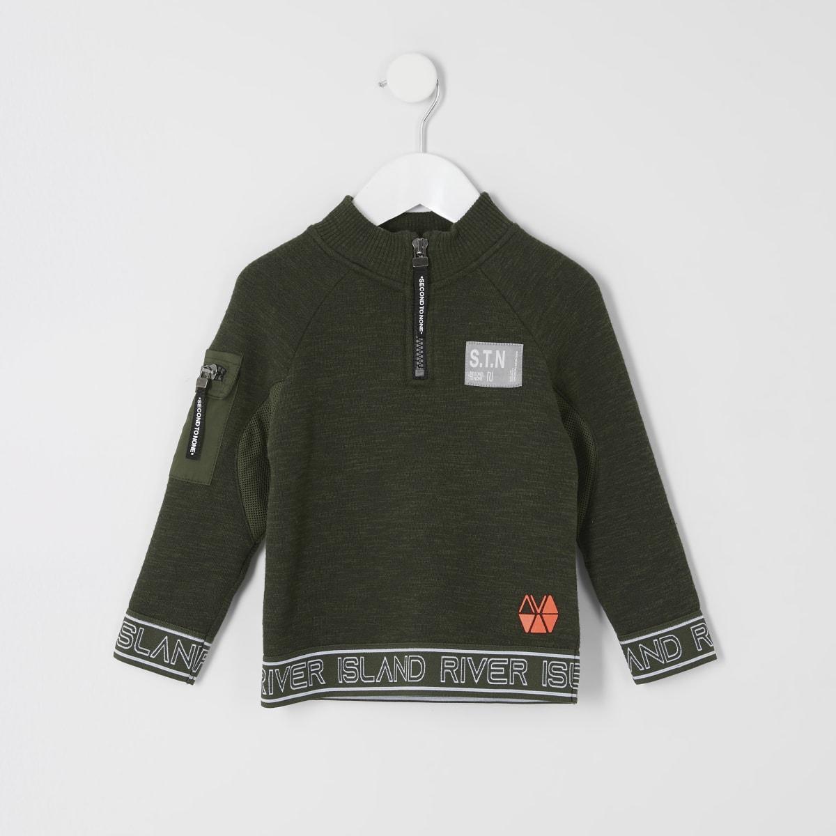 Mini - RI Active - Kaki sweatshirt met rits bij hals voor jongens