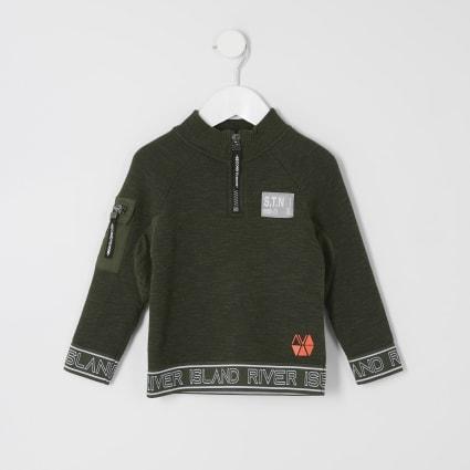 Mini boys RI Active khaki zip neck sweatshirt