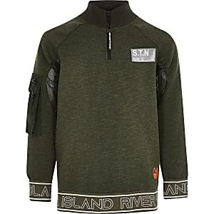 RI Active - Kaki sweatshirt met col voor jongens