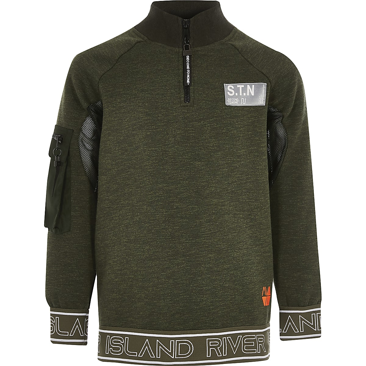 Boys khaki RI Active funnel neck sweatshirt