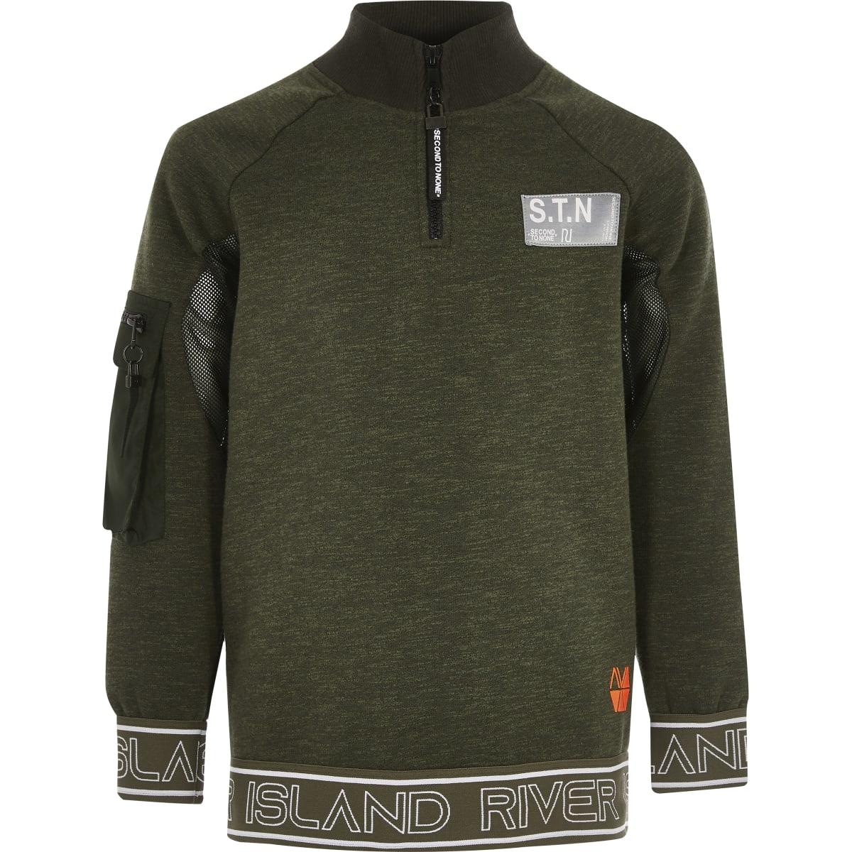 Boys khaki RI Active funnel neck sweatshirt