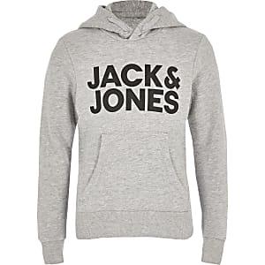 Jack and Jones - Grijze hoodie met logo voor jongens