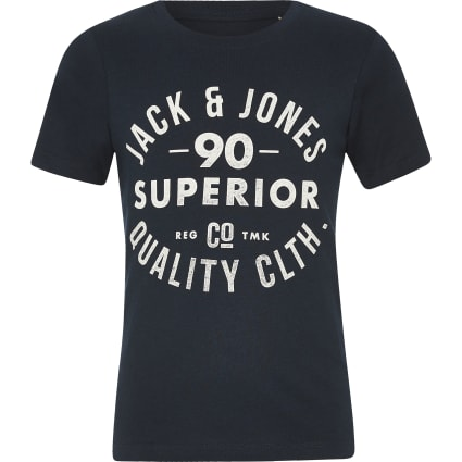 Boys Jack and Jones blue chest logo T-shirt