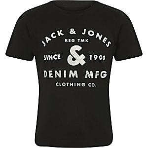 Jack and Jones - Zwart T-shirt met logo op de borst voor jongens