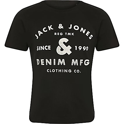 Boys Jack and Jones black chest logo T-shirt