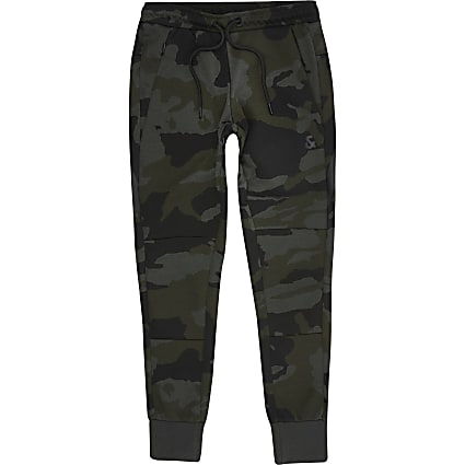 Boys Jack and Jones khaki camo joggers