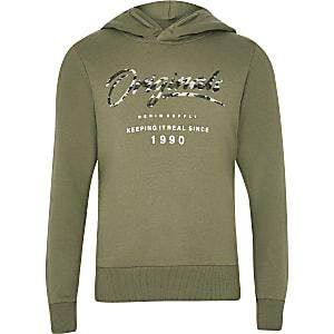 Boys Jack and Jones khaki logo hoodie