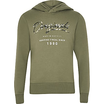 Boys Jack and Jones khaki logo hoodie