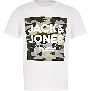 Jack and Jones - Wit camouflage T-shirt met logo print voor jongens