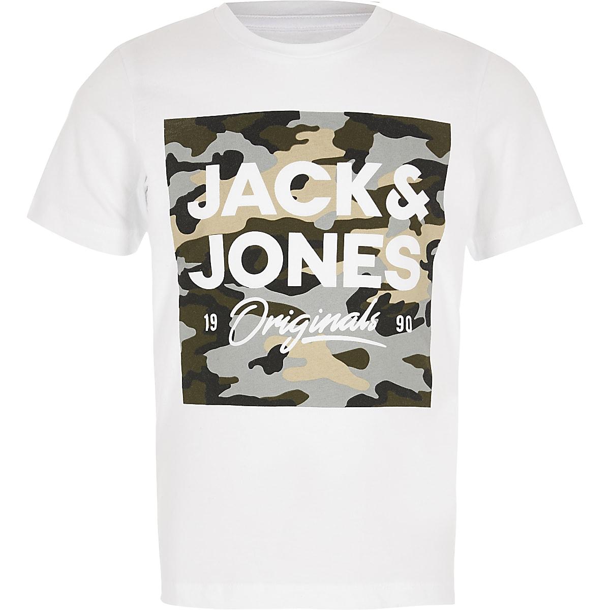 Boys Jack and Jones white camo logo T-shirt