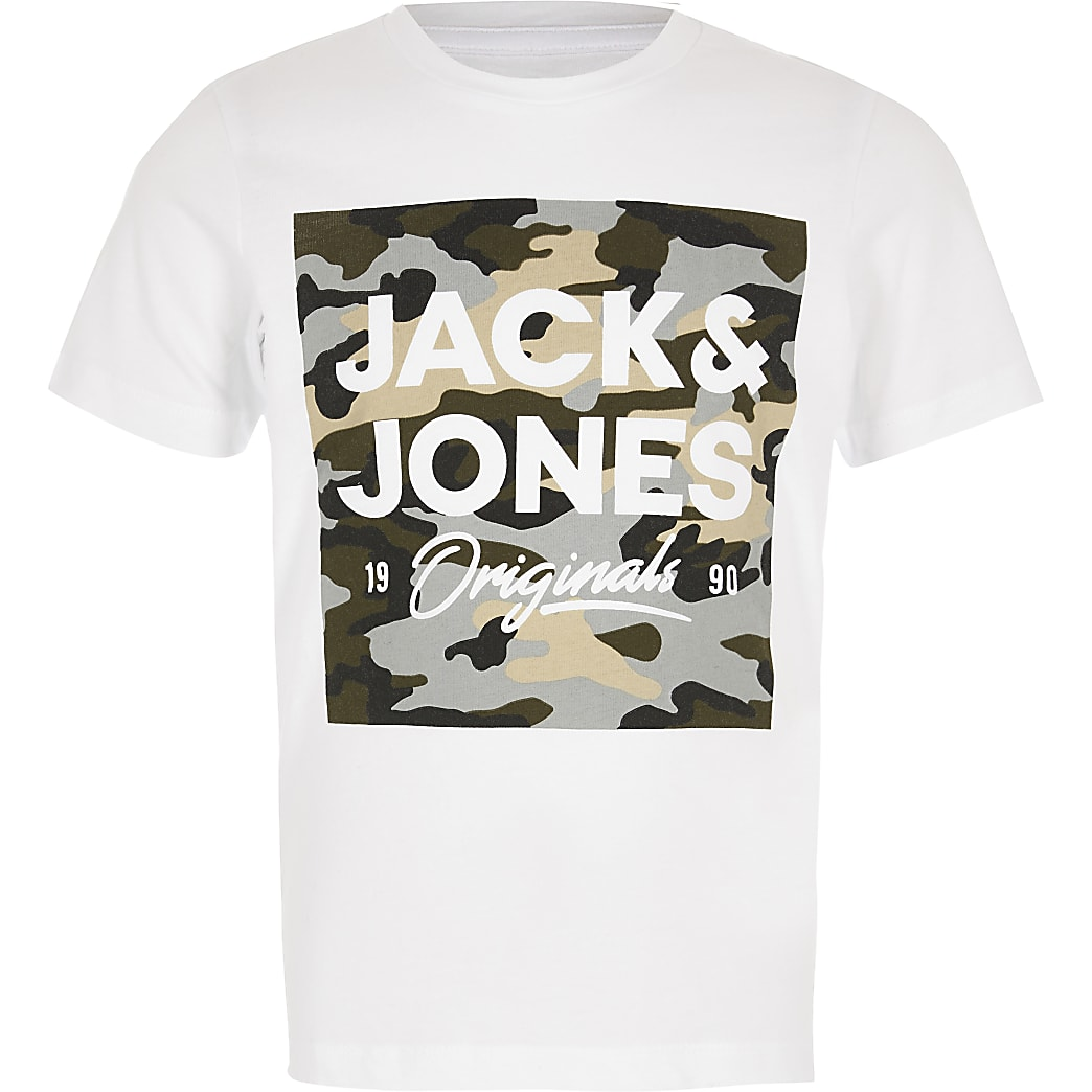 Boys Jack and Jones white camo logo T-shirt