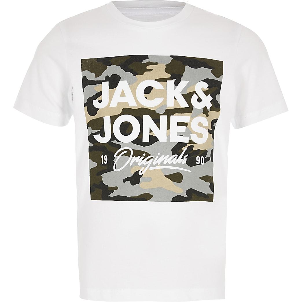 Jack and Jones – T-shirt blanc à logo camouflage pour garçon