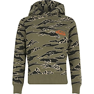 Boys Jack and Jones kahki printed hoodie
