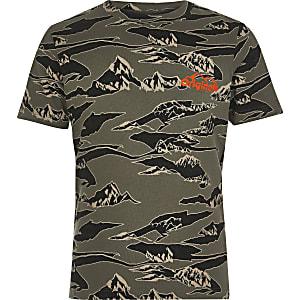 Jack & Jones – T-Shirt in Khaki-Camouflage für Jungen