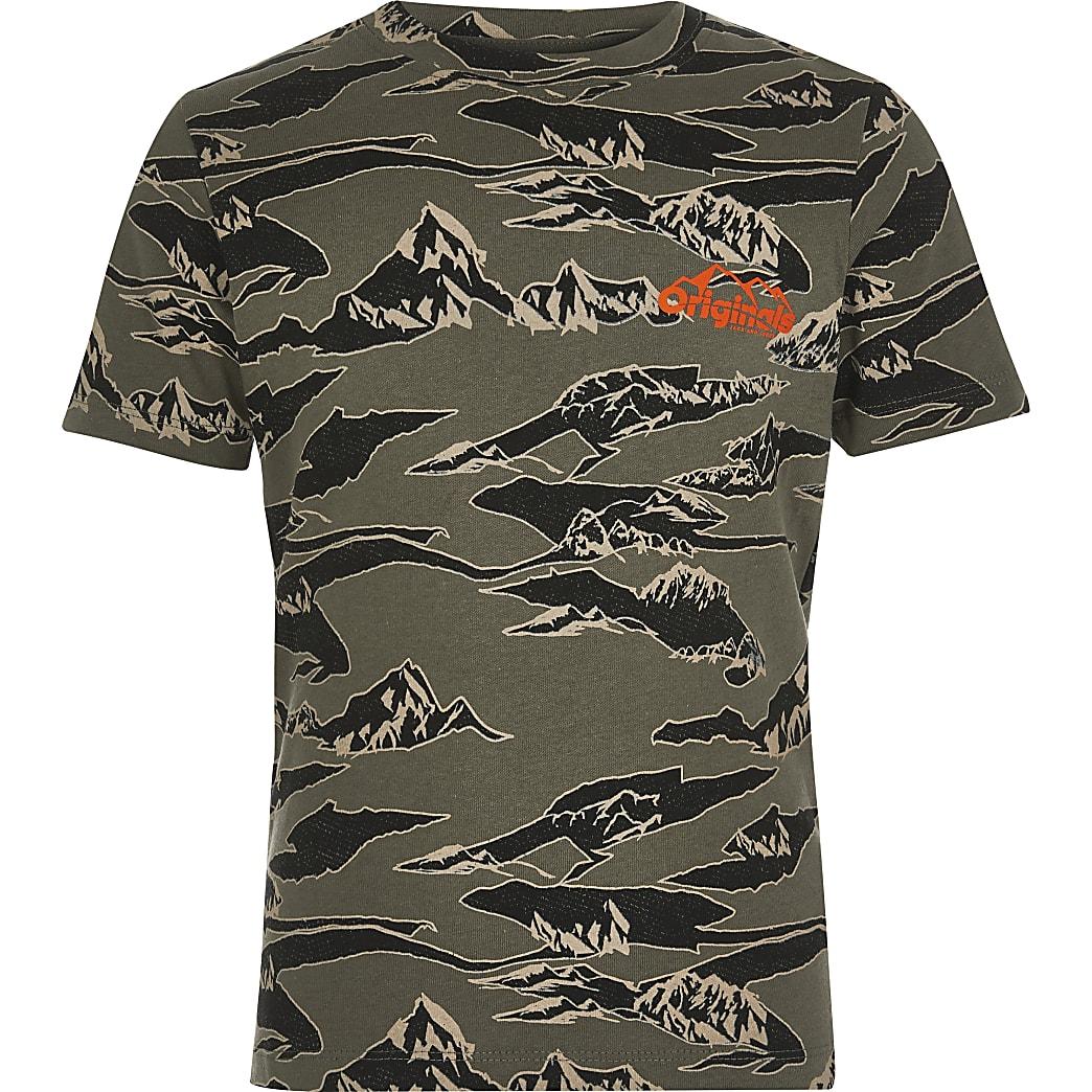 Boys Jack and Jones khaki camo T-shirt