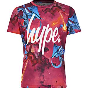 Hype – T-shirt rouge à imprimé dragon pour garçon