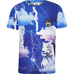 Hype - Blauw T-shirt met tijgerprint voor jongens