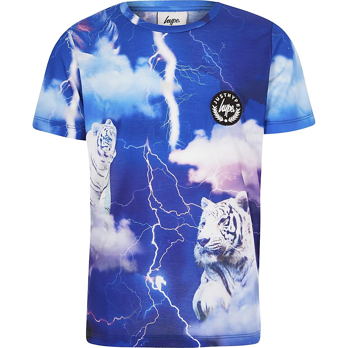 Boys blue Hype tiger print T-shirt