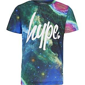 Hype – T-shirt bleu imprimé cosmique pour garçon