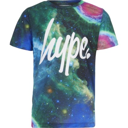 Boys Hype blue cosmic printed T-shirt