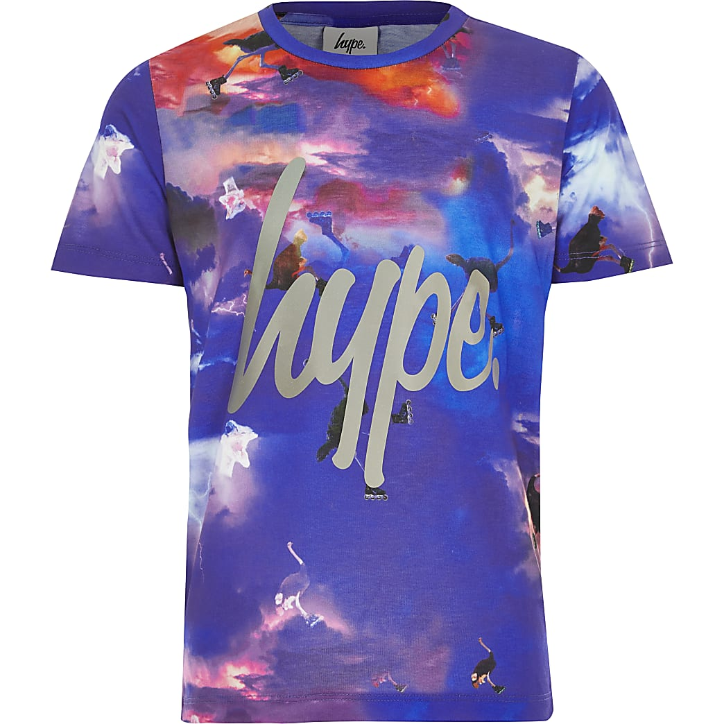 Boys Hype blue printed T-shirt
