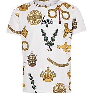 Hype – Weißes T-Shirt mit Wappen-Motiven für Jungen