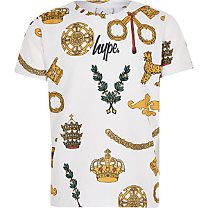 Hype - Wit T-shirt met wapenprint voor jongens