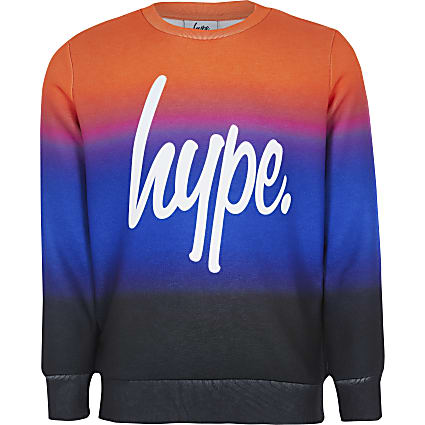 Boys Hype orange printed sweatshirt