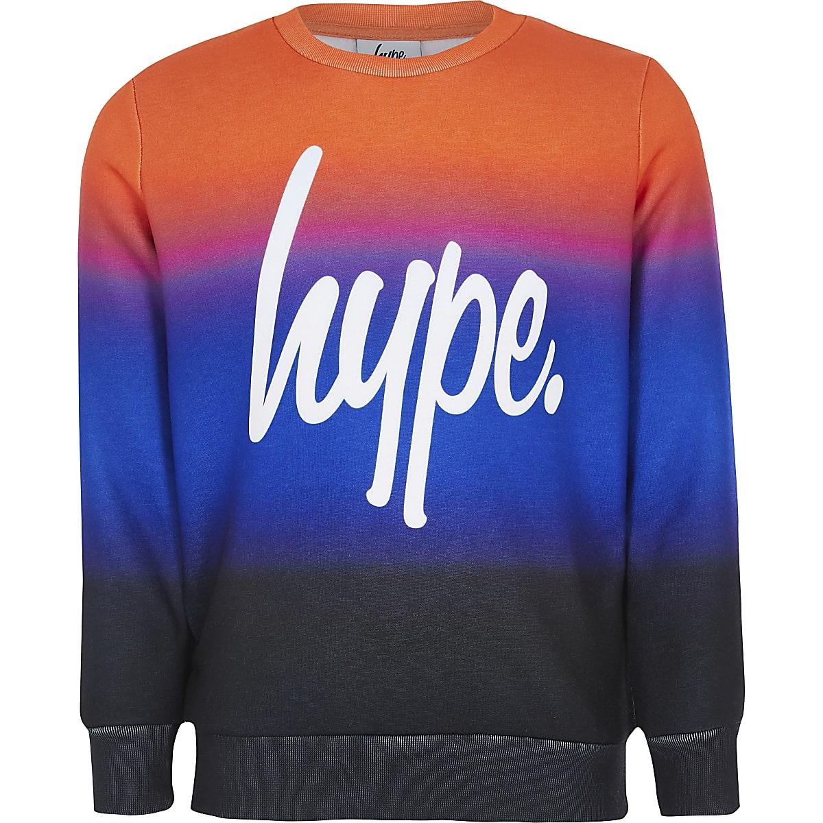 Boys Hype orange printed sweatshirt