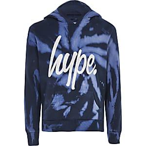 Hype - Sweatà capuche bleu tie and dyepour garçon