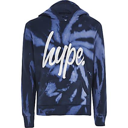 Boys Hype blue tie dye hoodie