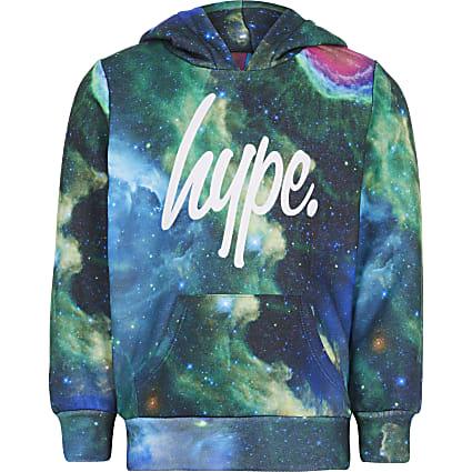 Boys Hype blue cosmic printed hoodie