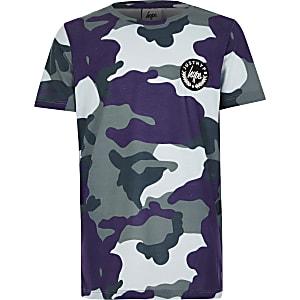 Hype – T-shirt bleu imprimé camouflage pour garçon