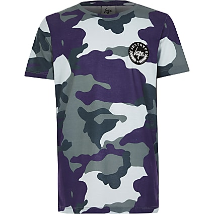 Boys Hype blue camo print T-shirt