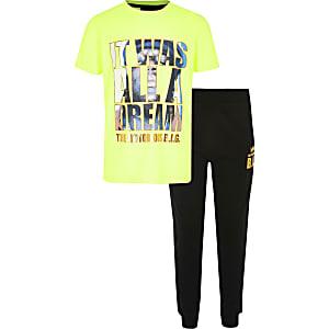 Limoengroene pyjama metNotoriousB.I.G.-print voor jongens