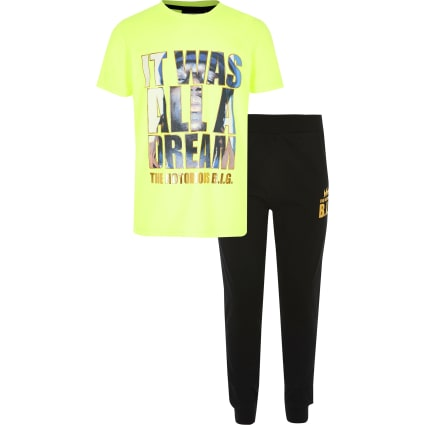 Boys Notorious B.I.G lime pyjama outfit