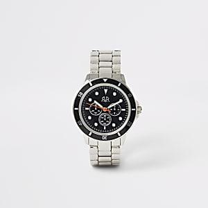 Zilverkleurig horloge met schakel bandje voor jongens