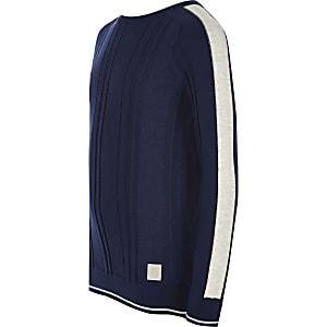 Maison Riviera - Blauwe geribbeld gebreide pullover voor jongens