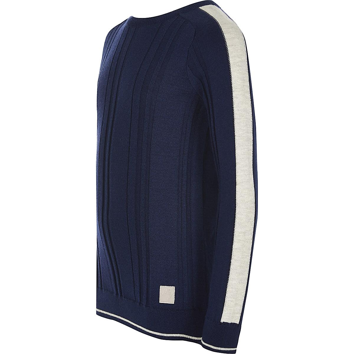 Boys blue Maison Riviera ribbed knit jumper