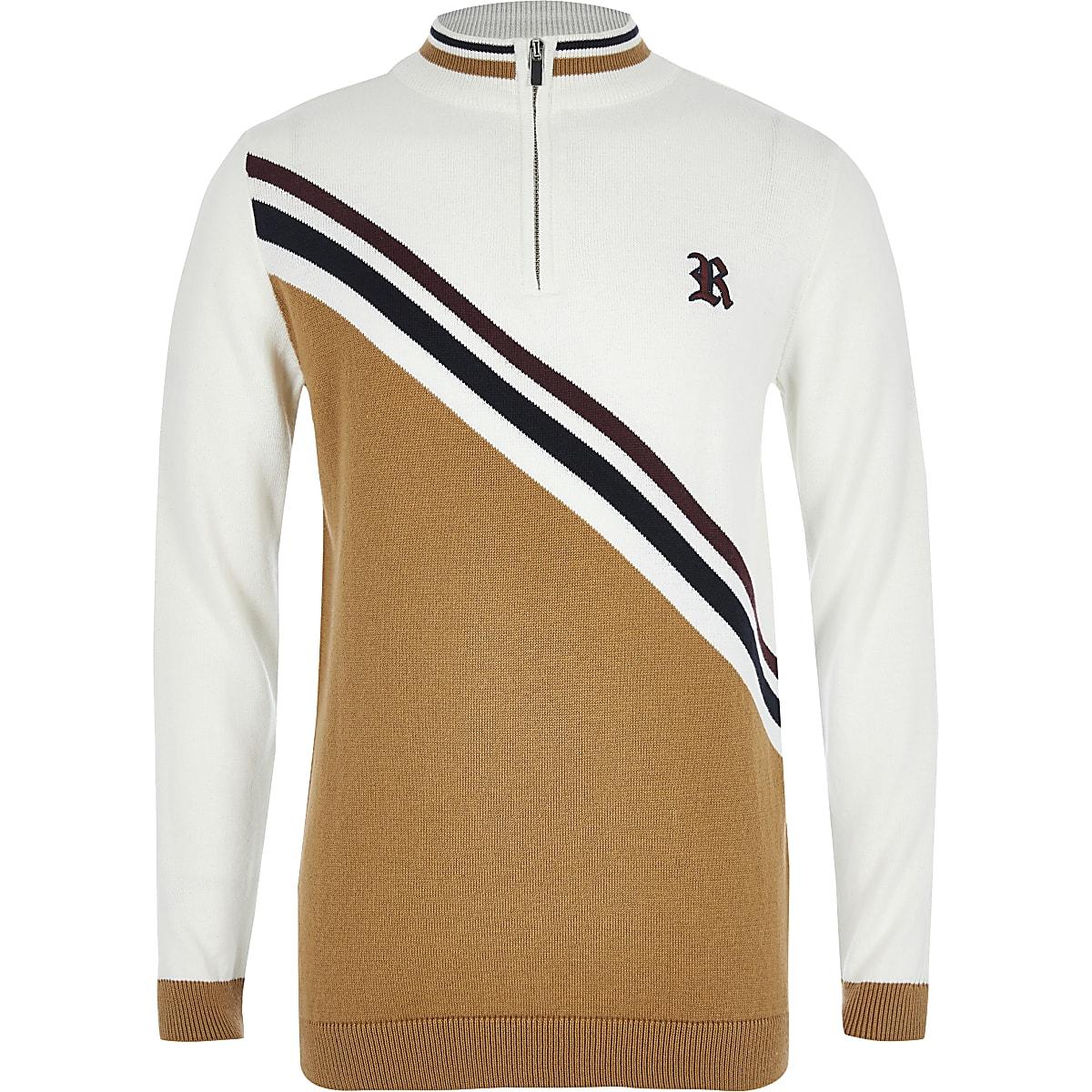 Boys light brown blocked half zip knitted top