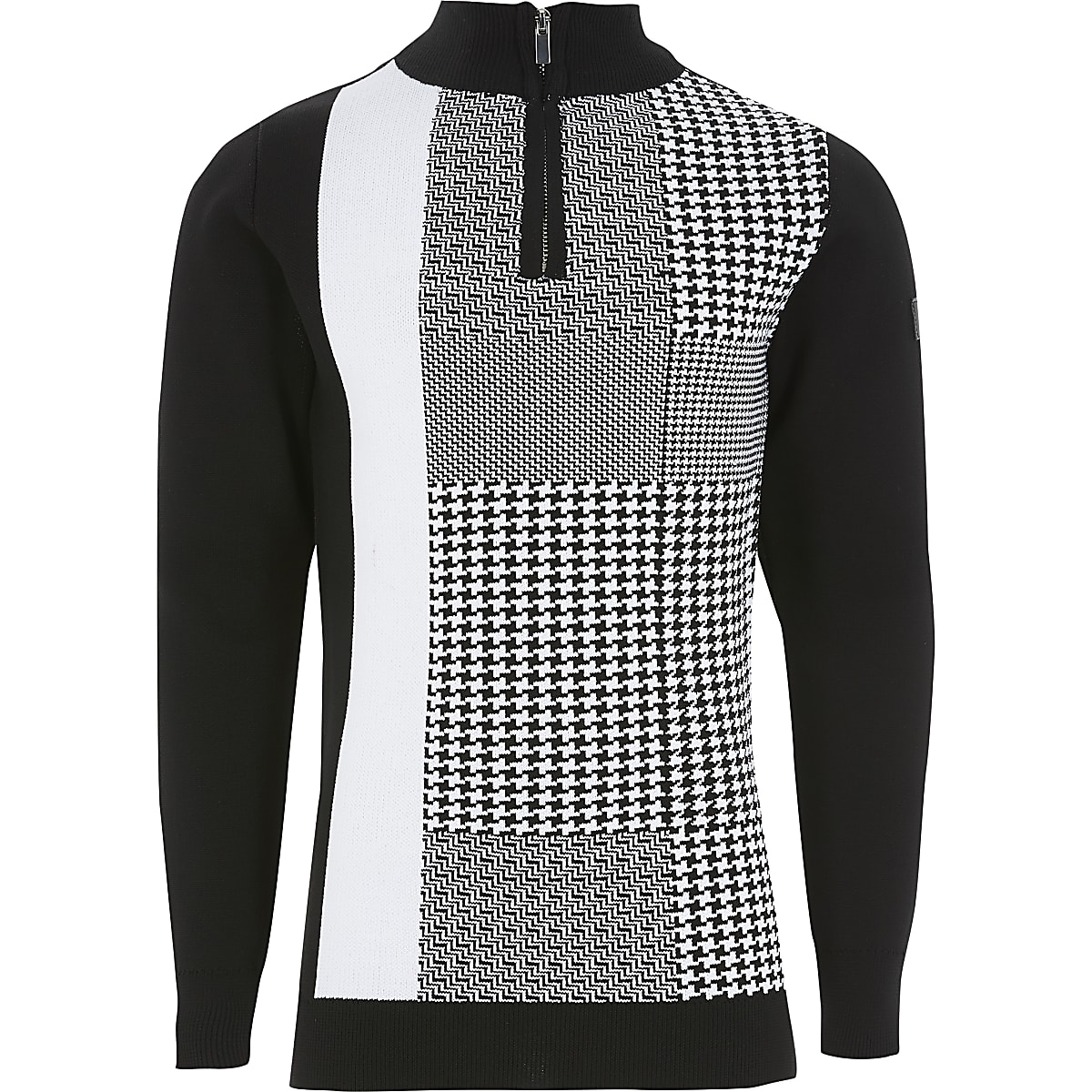 Boys black dogtooth check half zip jumper