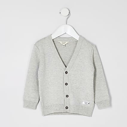 Mini boys grey knitted cardigan