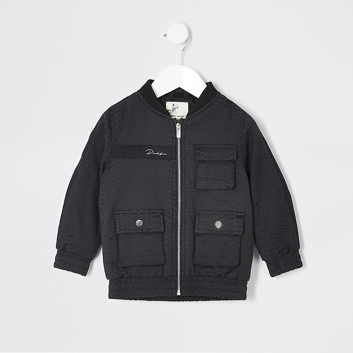 Mini boys black Prolific snake bomber jacket