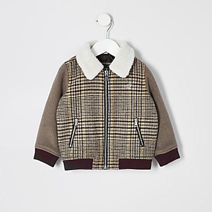 Mini boys brown check borg trim jacket