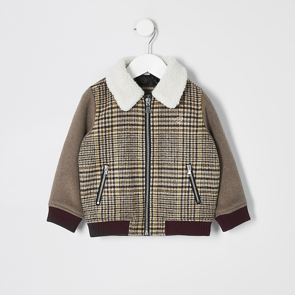 Mini boys brown check borg trim jacket