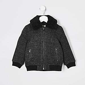 Mini - Donkergrijze jas met borgkraag voor jongens