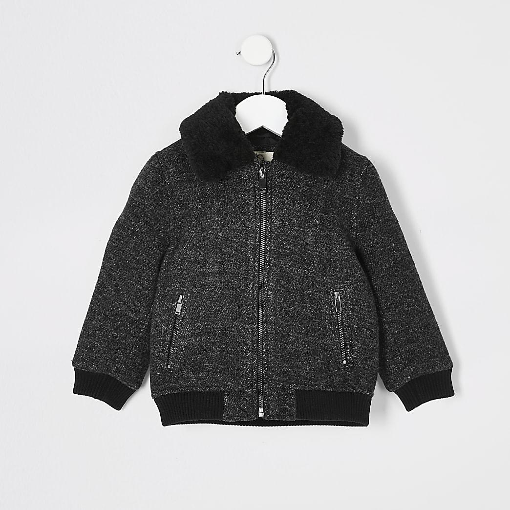 Mini boys dark grey borg collar coat