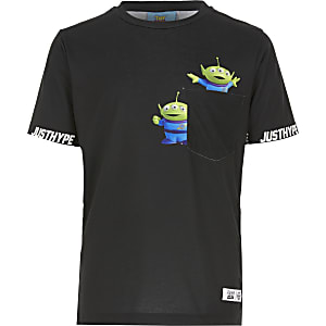 Boys black Hype Aliens pocket T-shirt