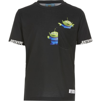 Boys black Hype Aliens pocket T-shirt