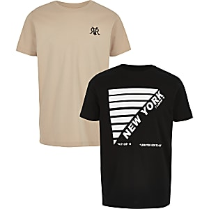 Boys black and stone T-shirt multipack